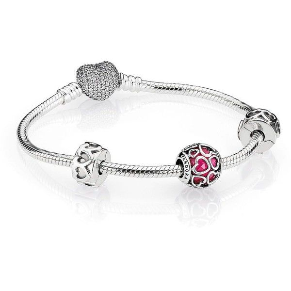 Pandora Open Hearts Bracelet Gift Set 195 Liked On Polyvore Featuring Jewelry Bracelets White Bangle Pink