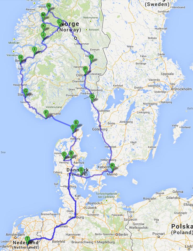 Road Trip To Scandinavia 2013 Part I Gerben Jacobs Road Trip Europe Road Trip Packing Road Trip Map