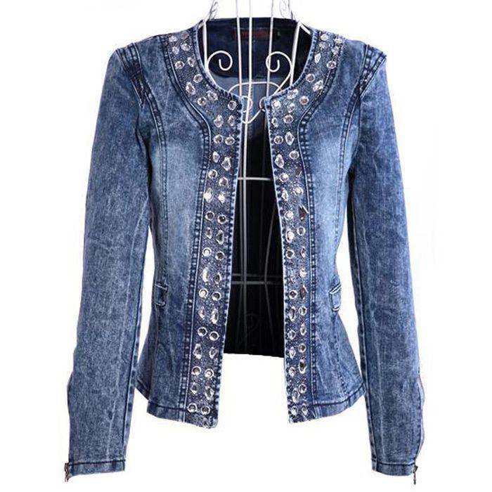 nia retro para mujer camiseta de manga larga de jean de mezclilla vintage  camisa de tapas de la blusa chaqueta 09ad1ef65513
