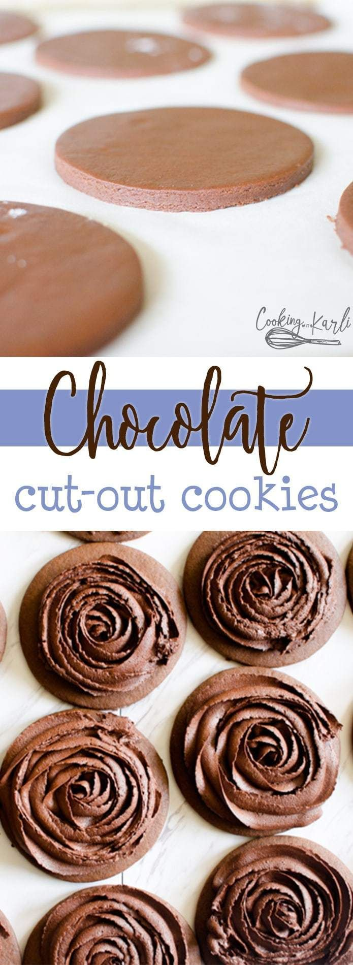 Chocolate Cut-Out Cookies are a rich and fudgy roll and cut cookie. The cookies keep shape, stay soft and disappear quickly! Perfect for showers, parties or celebrations of all kinds these Chocolate Cut-Out cookies are sure to be a hit! |Cooking with Karli| #chocolate #cutout #cookie #recipe #dessert #rollandcut #rich #quickcookierecipes