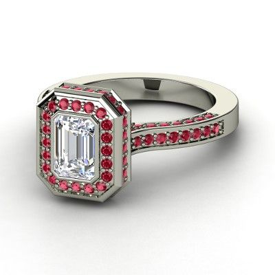 Emerald Diamond Sterling Silver Ring with Ruby | Melanie Ring | Gemvara