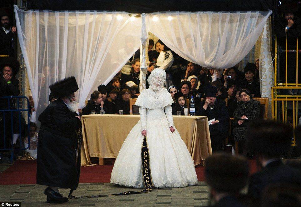 Bride Hannah Batya Penet During Lavish Orthodox Jewish Wedding Jerusalem