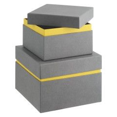 Decorative Boxes Uk Garner Grey And Yellow Cardboard Storage Box  Cardboard Storage