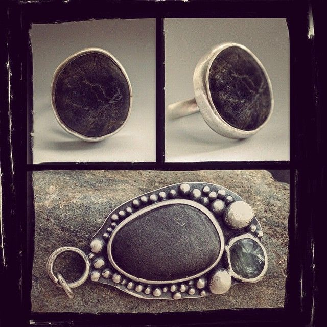 Final road-story: pebble ring and pendant with pebble and kyanite, made while travelling Australia's east coast... #beachjewelry #pebblering #silverjewelry #kyanite #pebbles #organicjewelry #organic-design #naturejewelry #inspiredbynature #instajewelry #metalsmith #riojeweler