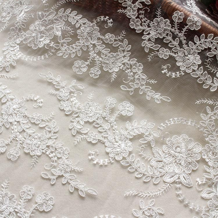 Guipure Embroidery Wedding Dress Lace Fabric Blossom Bridal Evening Gown 0.5 Y
