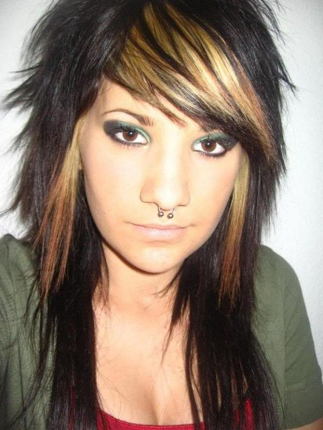 Long Punk Hairstyles Girls Long Layered Emo Hairstyles For Girls Rocker Hair Medium Hair Styles Emo Haircuts