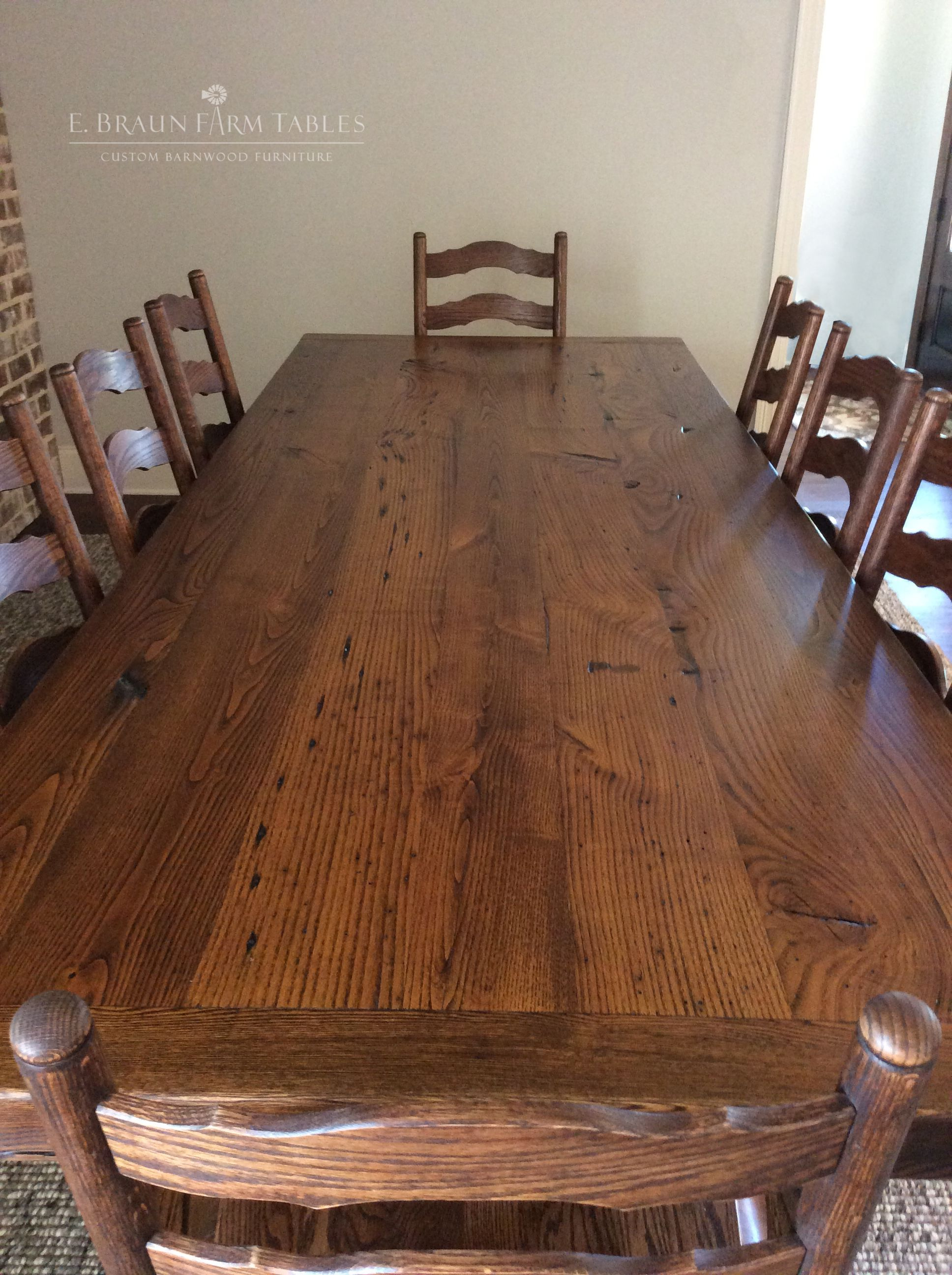 reclaimed american chestnut (wormy chestnut) table and oak frenchreclaimed american chestnut (wormy chestnut) table and oak french country ladder back chairs