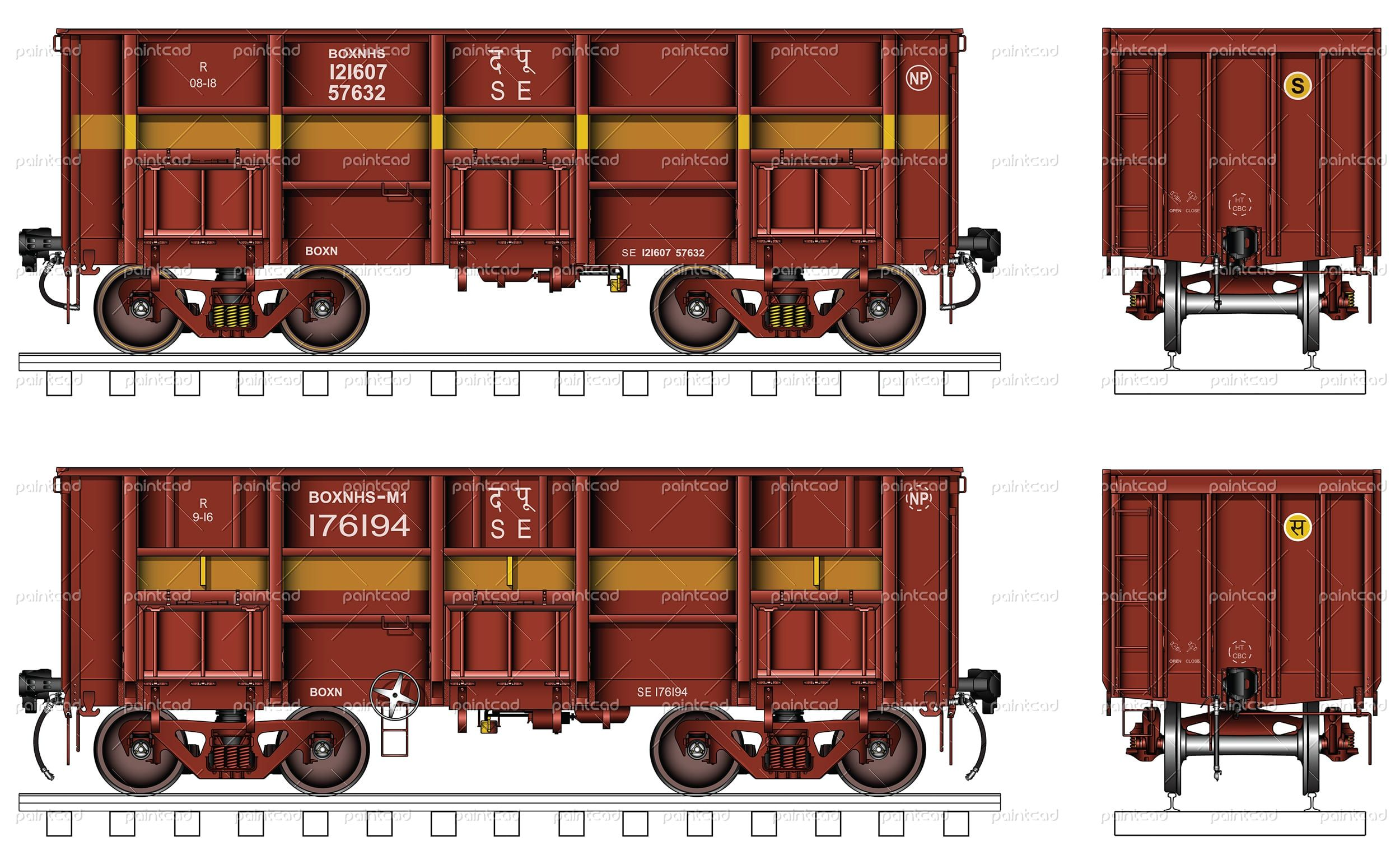 """Open goods wagon type """"BOXNHS"""" with three doors used by"""