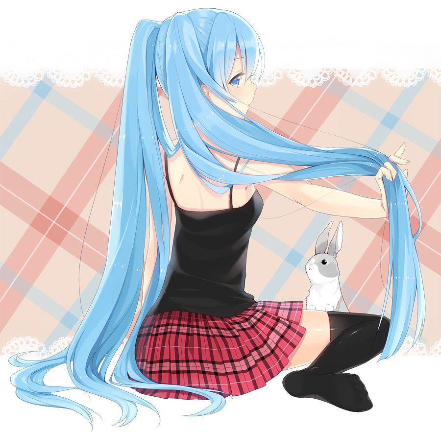 Dark blue haired anime girl