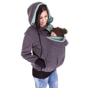 Indossa giacca 3 in 1, per madre e bambino, in pile giacca, giacca maternità, gravidanza, antracite - rivestimento portante di menta punti, TRIO, del bambino