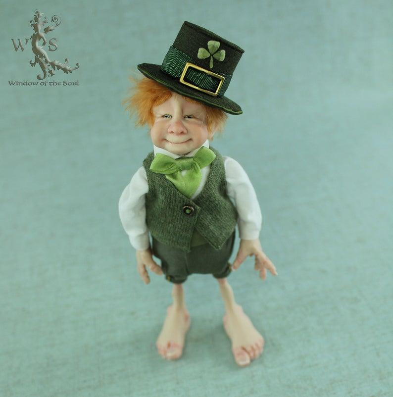 Lucky Irish Leprechaun Good Luck Charm Ooak Fantasy Art Doll Etsy Lucky Irish Fantasy Art Dolls Luck Charms