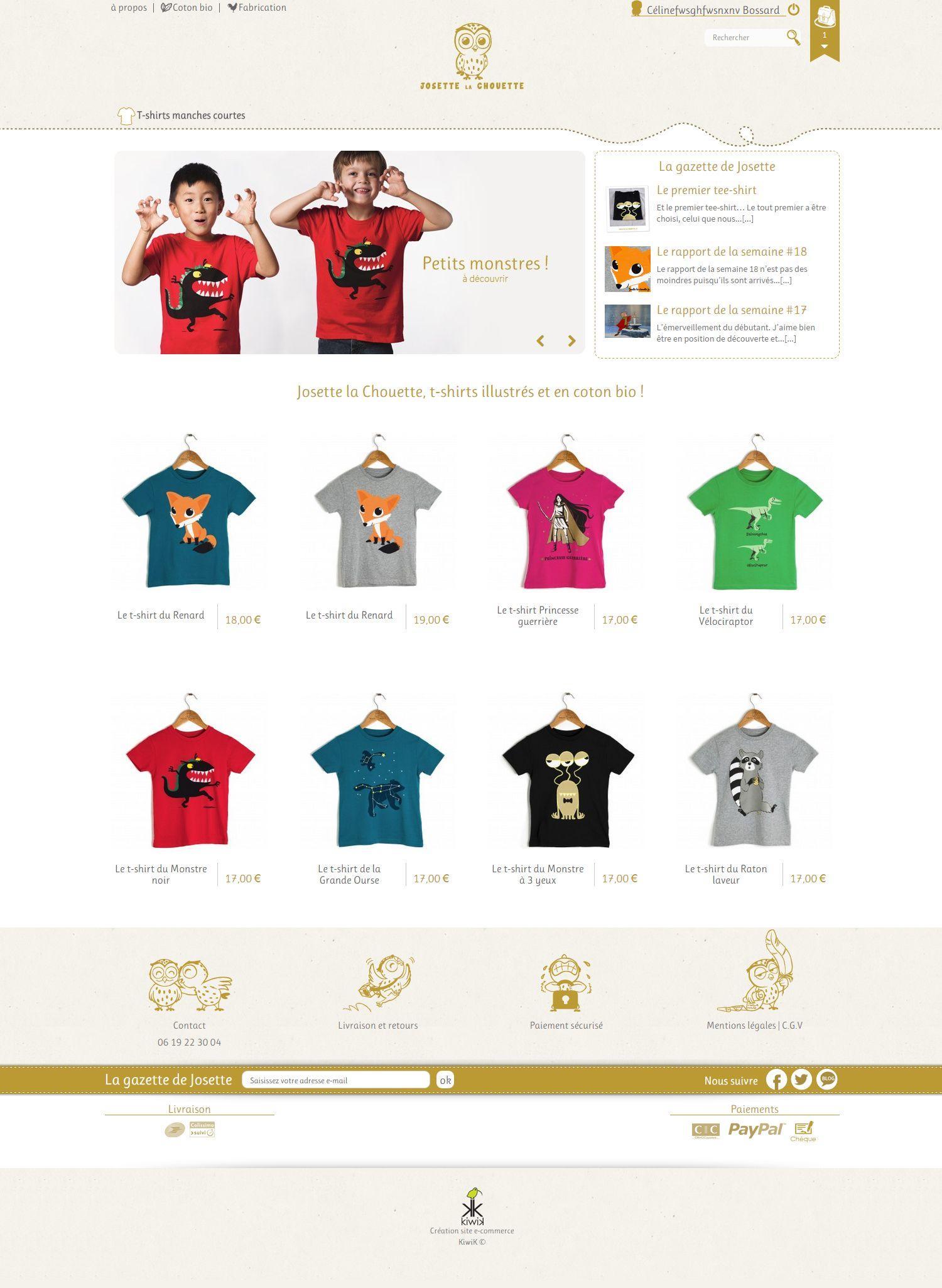 Home page du #site #ecommerce #Prestashop  http://www.josette-la-chouette.fr/, vente en ligne de t-shirts illustrés et en coton #bio pour #enfants