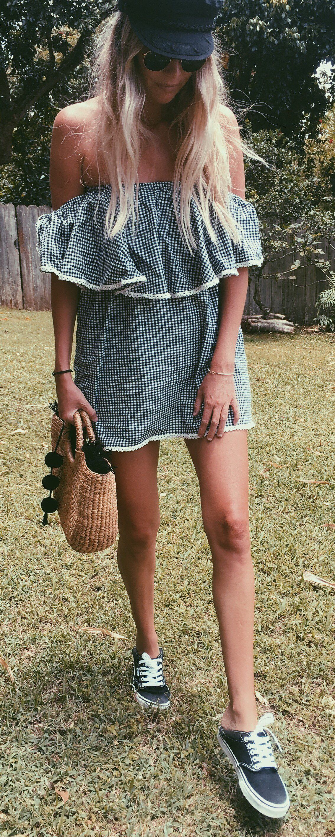 df1457c9adc  summer  outfits Striped Off The Shoulder Dress + Black Vans    Shop this  exact outfit in the link