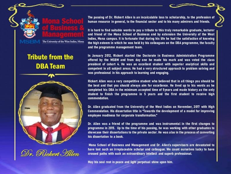 Tribute To Dr Rickert Allen From The Dba Team Mona School Of Busines Management Student Resources Doctor Administration Dissertation