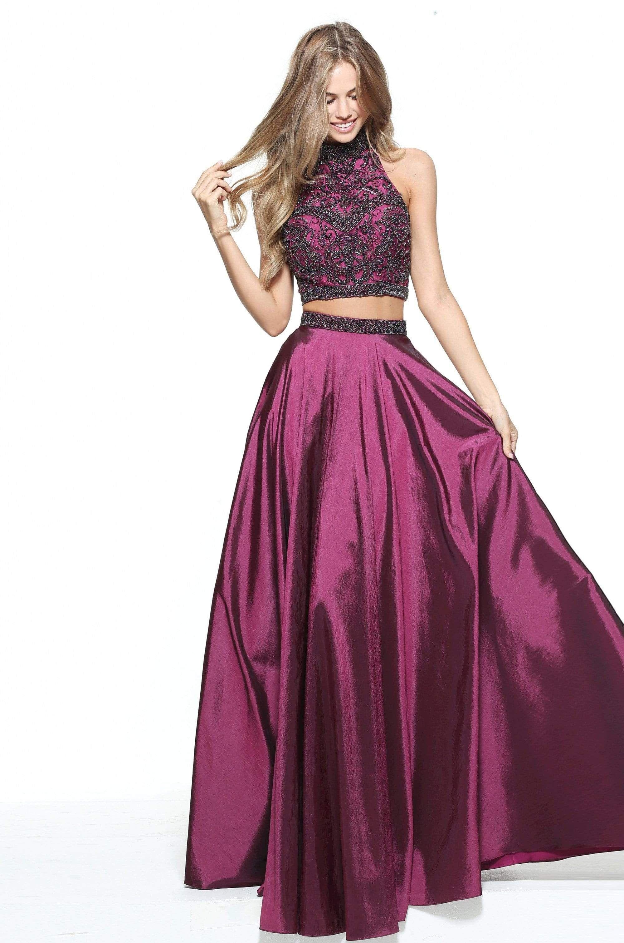 Sherri Hill 51061 Beaded Two Piece High Halter A Line Dress In 2021 Piece Prom Dress Prom Dresses Two Piece Purple Prom Dress [ 3020 x 2000 Pixel ]