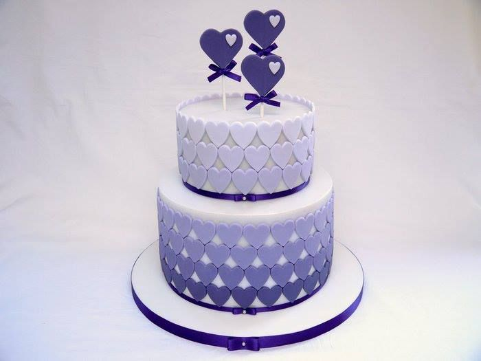 Purple Heart Wedding Cake - Cakesdecor.com