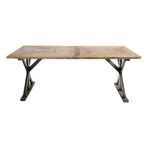 Table De Salle à Manger En Orme Recyclé L Cm Meubles Déco - Table pliante 240 cm pour idees de deco de cuisine