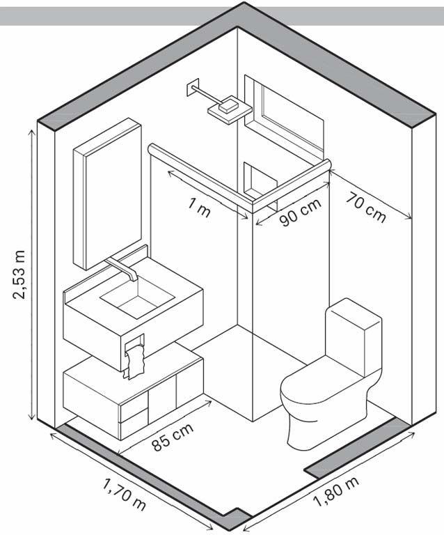 Axonométrica banho_medidas mínimas de referência | Bathroom Ideas ...