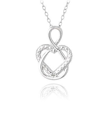 Take a look at this Sterling Silver Diamond Heart Infinity Necklace