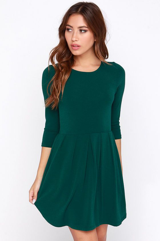 a9b7a32dd5 Keen About You Dark Green Skater Dress at Lulus.com! thanksgiving ...