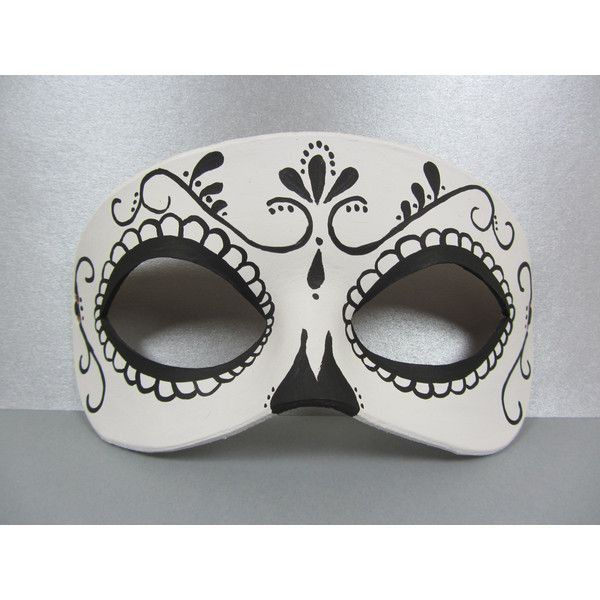 Day of the Dead black and white swirl leather mask ($30) ❤ liked on Polyvore