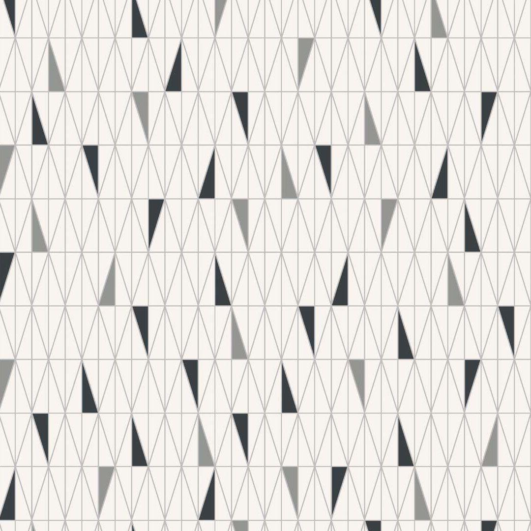 Scandinavian Designers Sven Markelius Ratio 2754 Fleece Wallpaper With Rhombus Triangle Pattern Black