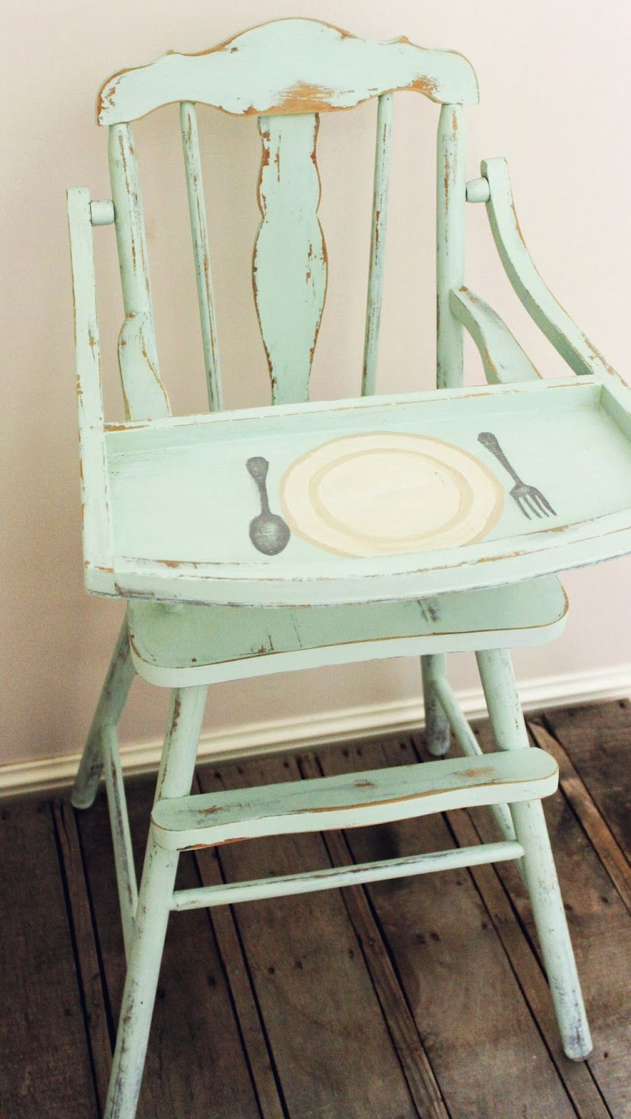 Painted wooden high chair - Namely Original Vintage Painted High Chairs Love The Place Setting That Is Painted On