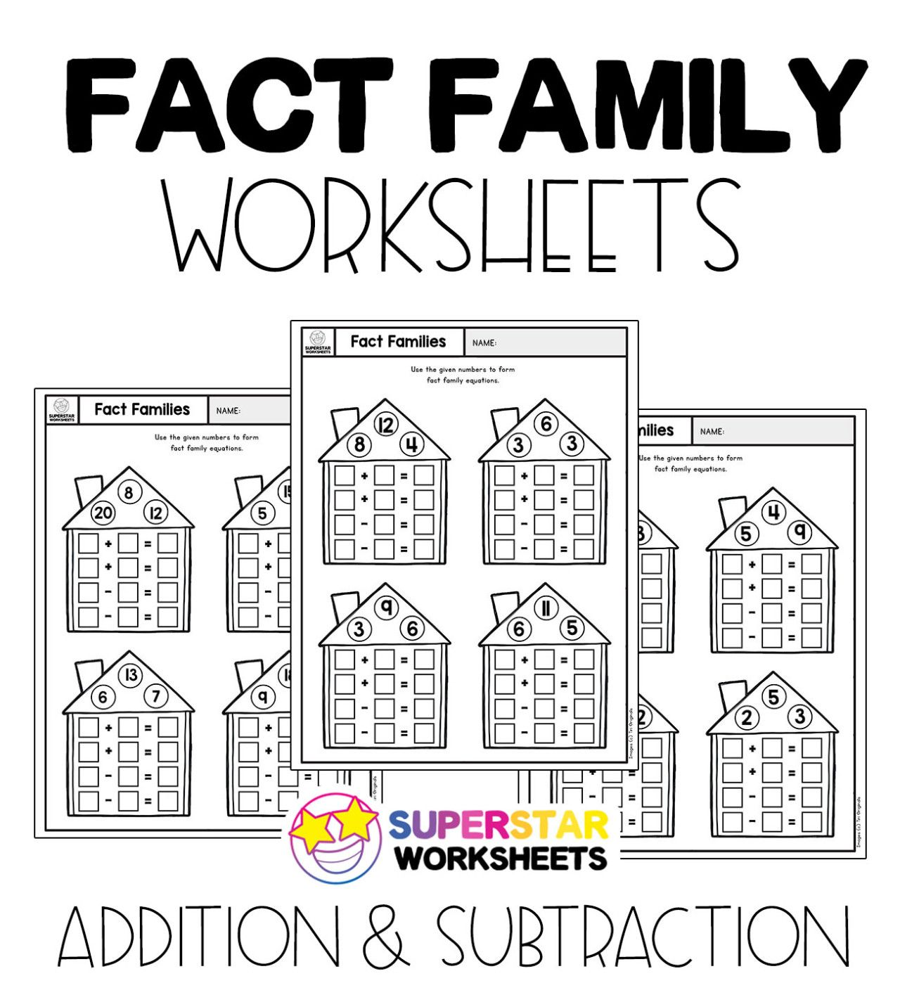 Free Fact Family Worksheets For Addition And Subtraction Equations Free Math Worksheets Fro Fact Family Worksheet Family Worksheet First Grade Math Worksheets Addition super teacher worksheets