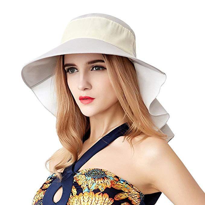 e4066569dedcb Home Prefer Womens Sun Hat UPF 50 Wide Brim Neck Flap Hat Cotton Beach Sun  Hat