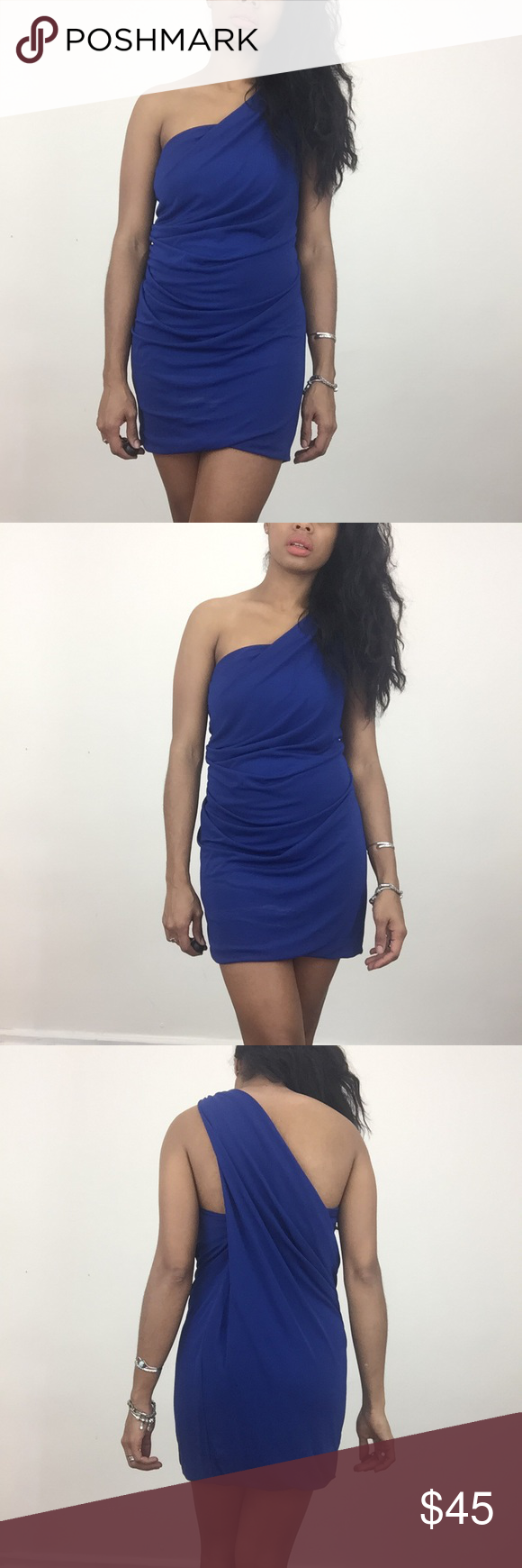 🌜Cut 25 One Shoulder Dress Beautiful electric blue one shoulder stretchy slip on dress. Size 0 fits sizev2,4 comfortably. Cut25 Dresses Mini