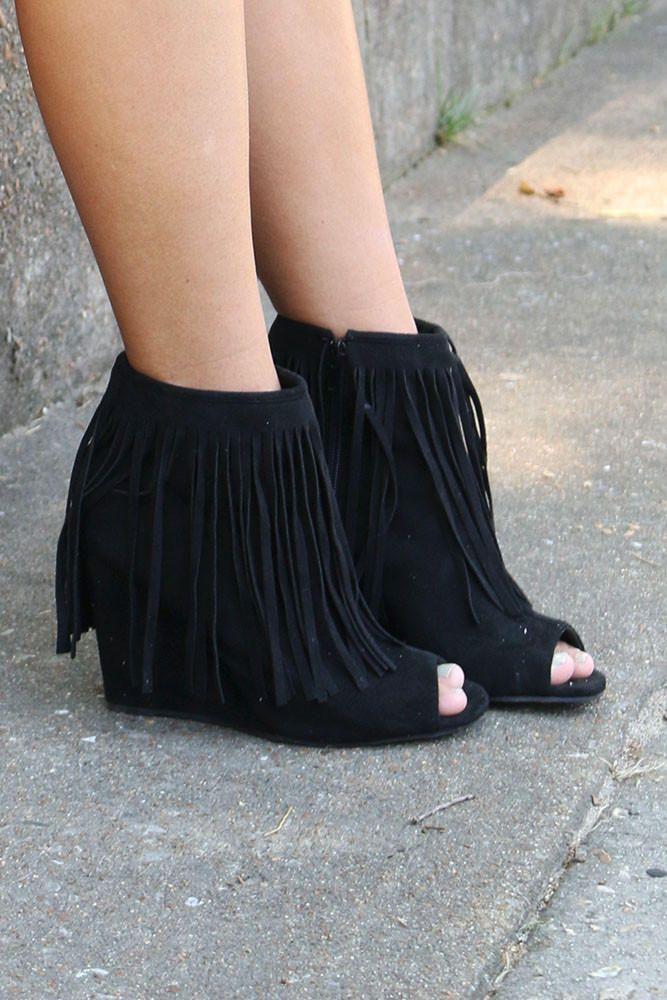 Desert Fringe Black Zip Up Peep Toe Wedge Ankle Boot With Fringe ...
