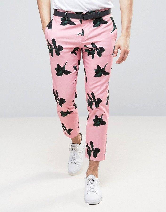 16d9905fd ASOS Skinny Crop Pant with Pink Floral Print | Men Jeans, Joggers ...