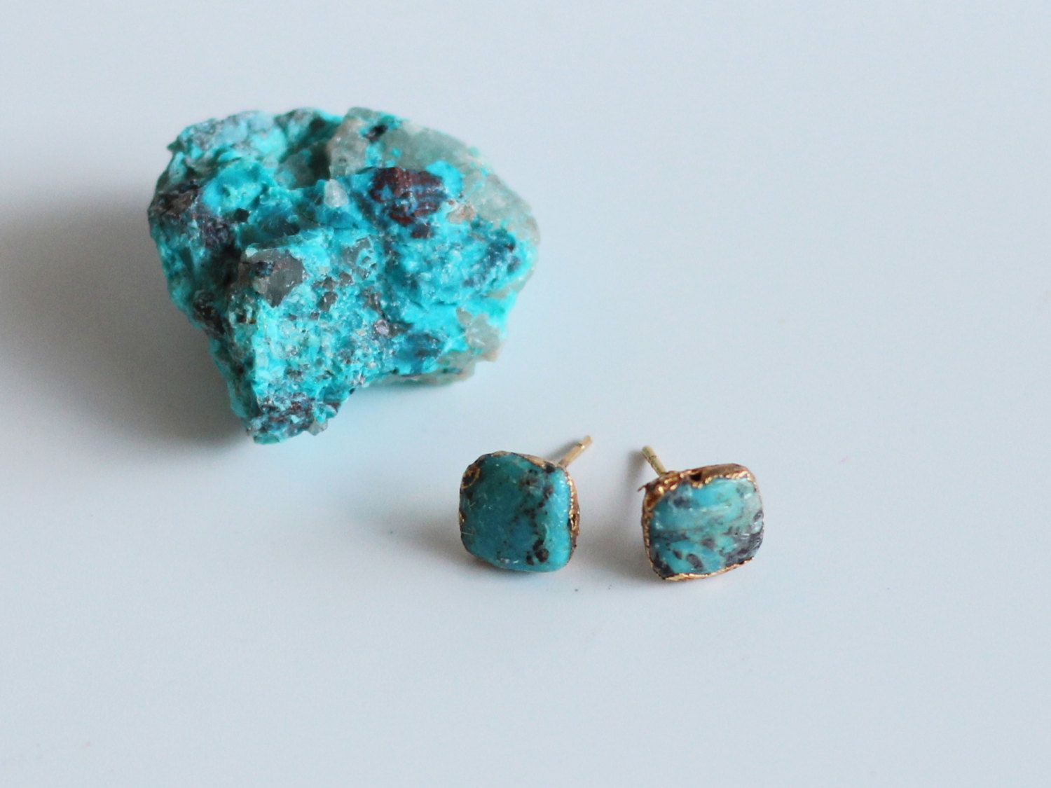 Turquoise Stud Earrings Raw Bohemian Hippie Square Shaped
