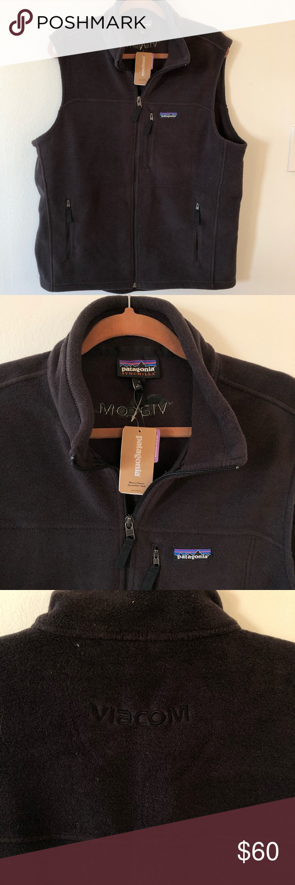"""Patagonia men's classic Synchilla vest black large Patagonia men's classic Synchilla vest black in size large. New with tags. There's is a black Viacom logo embroidery in the back as seen in the picture.   Measurements  Armpit to armpit 24"""" Length from shoulder to hem 27""""  B-0227 Patagonia Jackets & Coats Vests"""
