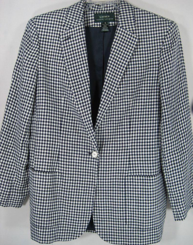 Ralph Lauren Women Herring Bone Blazer Size 14 Blue White 100% Linen. #RalphLauren #Blazer