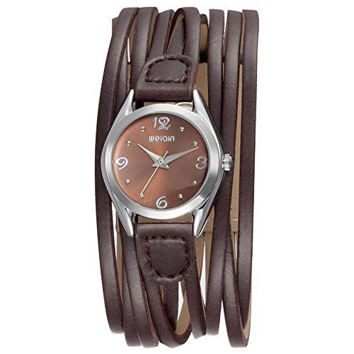 WeiQin Vintage Women Brown PU Leather Band Watch Quartz Analog Charm Bracelet Wrist Watch *** You can find out more details at the link of the image.