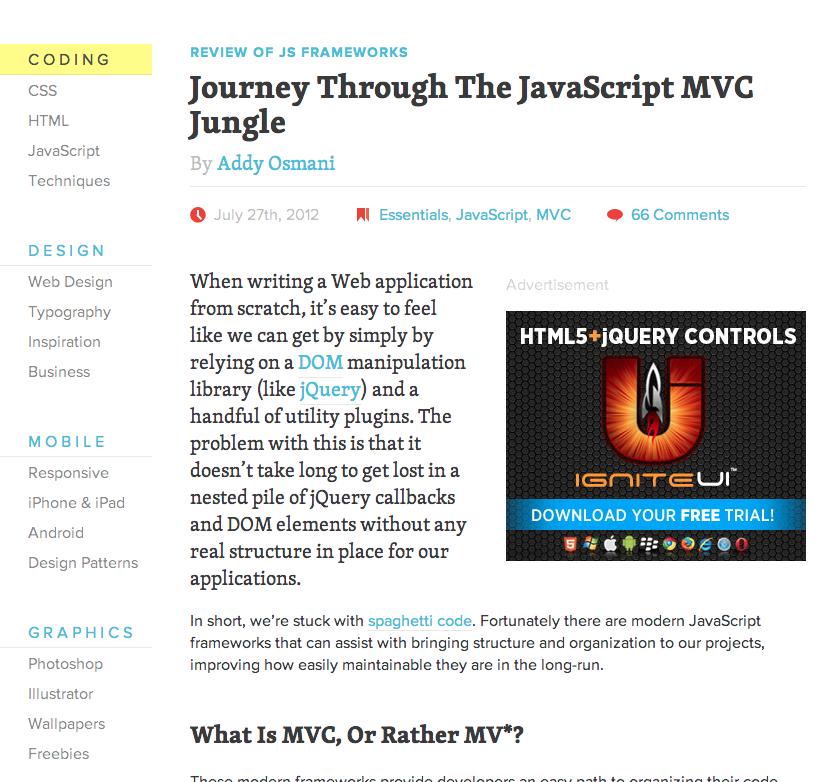 Journey Through The Javascript Mvc Jungle Http Coding