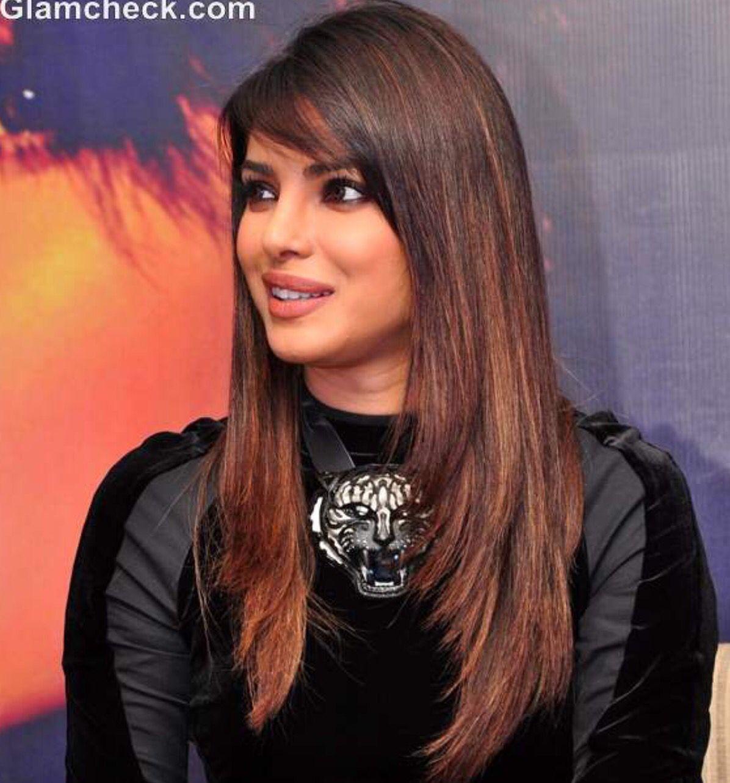 Long Layers With Side Swept Bangs Indian Hair Highlights Priyanka Chopra Hair Indian Hairstyles