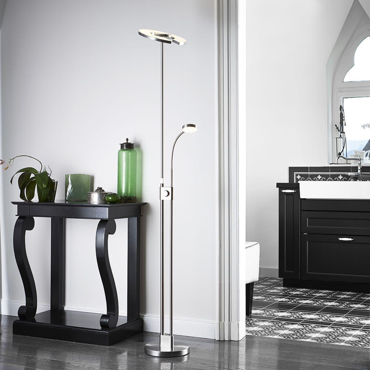 led stehleuchte stehlampe mit leseleuchte deckenfluter. Black Bedroom Furniture Sets. Home Design Ideas