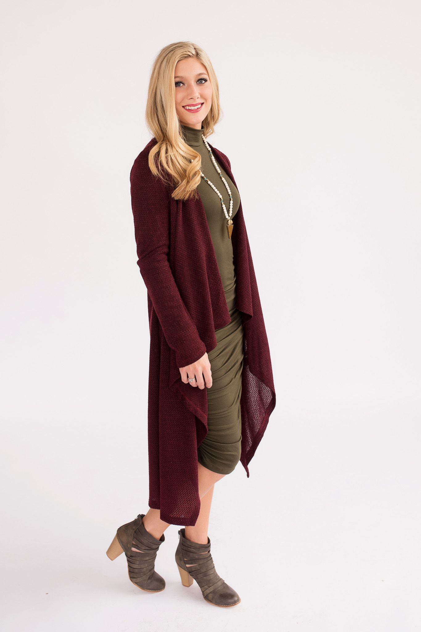 Maroon duster cardigan with waterfall drape detail. | Piper Street ...