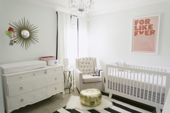 Zoe S Nursery In Mint And White With Touches Of Gold