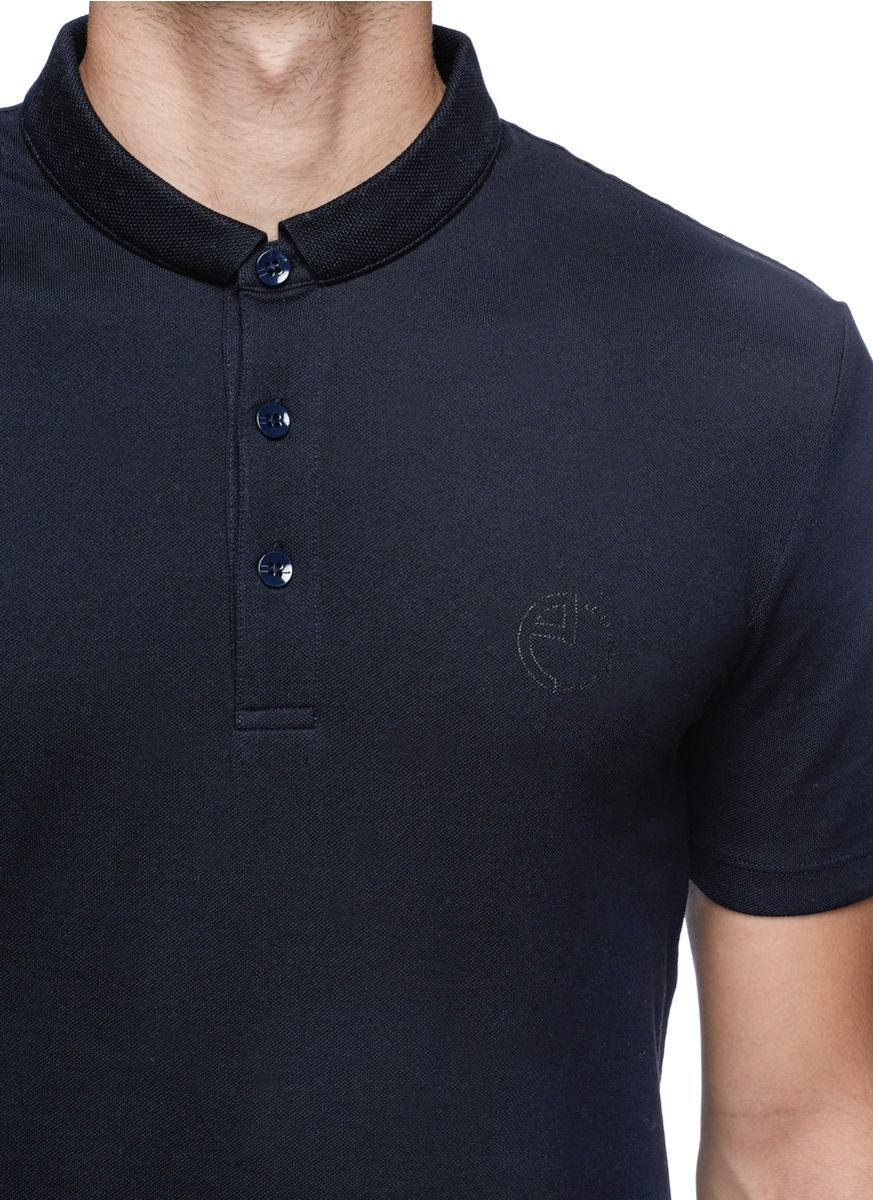 efdab811f3ec Best Designer Polo Shirts  Armani Collezioni. Blue Stitch Down Collar Polo  Shirt