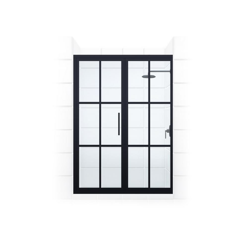 Coastal Shower Doors Gridscape Series 45 75 In X 76 In Framed Hinge Shower Door And Inline Panel In Black And Clear Glass With Handle Gsfd457576oc The Home Coastal Shower Doors Shower Doors Gridscape