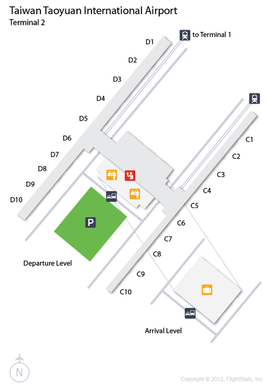 tpe airport terminal map Flightstats Taiwan Taoyuan International Airport Taoyuan tpe airport terminal map