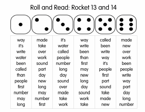 Roll and Read: Rocket Words- roll dice and read those words as ...