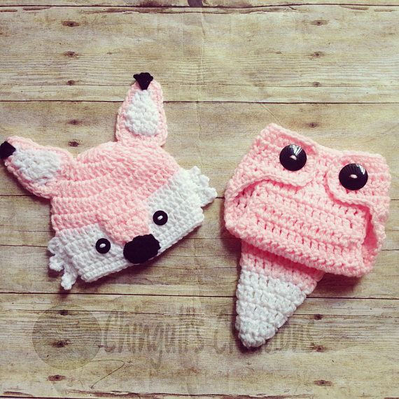 Crochet Fox Outfit Baby Girl Fox Hat and Diaper Cover newborn Fox ...