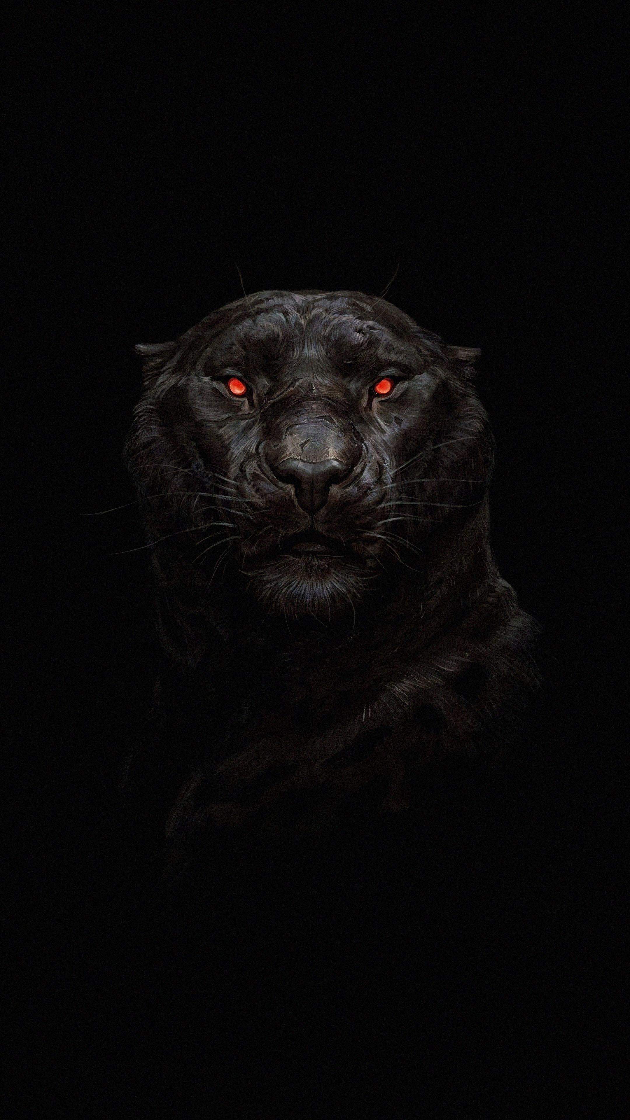 2160x3840 Tiger Glowing Red Eye Minimal Dark Wallpaper Dark