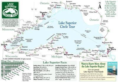 Lake Superior Magazines Circle Tour map with summary distances and