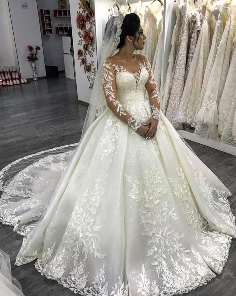 Ivory Lace Bodice Ball Gown Wedding Dress With Sheer Long: Luxury Long Sleeves Lace Princess Ball Gown Wedding Gown