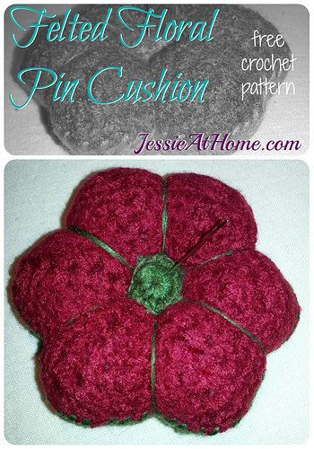Felted Floral Pincushion Free Crochet Pattern Gehäkelte Decken